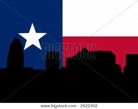 Austin Skyline With Texan Flag