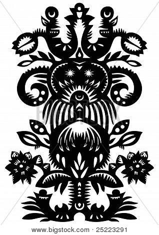 Black Decorative Floral Pattern