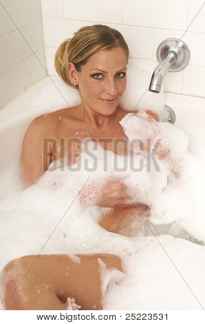 Blond In Bubble Bath