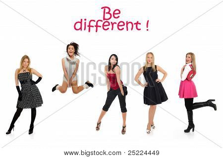 Group Of Beautiful Woman And One Crazy Girl Jumping