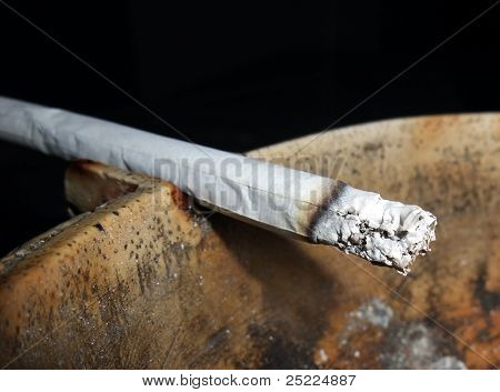 Cigarette And Ashtray Closeup
