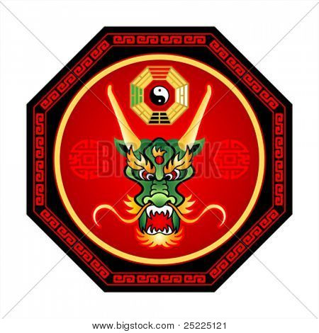 Feng Shui dragon octogram with bagua yin-yang isolated