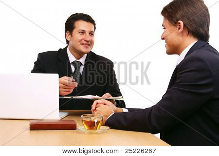 Two business partners signing contract isolated on white background