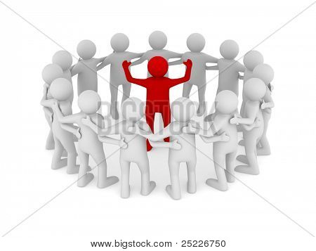 Conceptuele afbeelding van leiderschap. Geïsoleerde 3D op wit