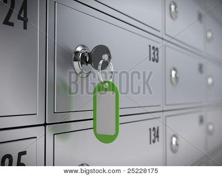 Deposit safe bank and key to the safe