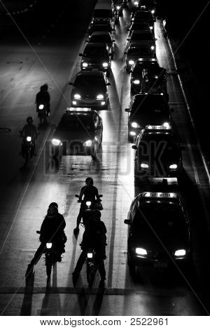 Traffic Jam At Night