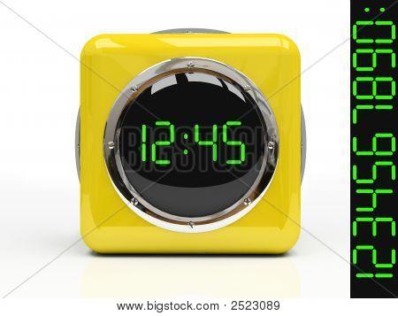 Reloj amarillo aislado sobre fondo blanco 3D