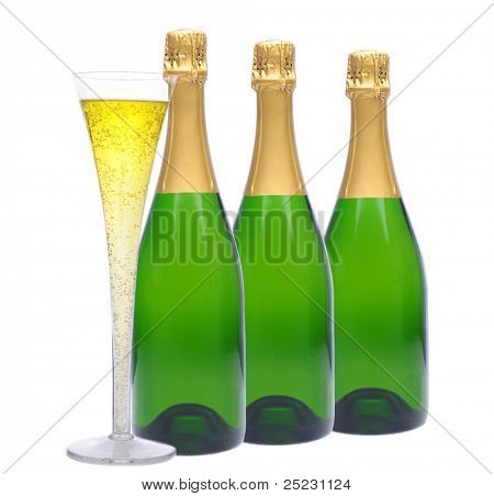 Three Sparkling Wine bottles and a Champagne flute over a white background. Square Format
