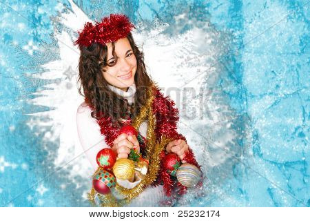 Teen with Christmas  decoration and blue frozen frame