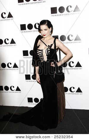 LOS ANGELES - NOV 12: Dita Von Teese at the 2011 MOCA Gala, An Artist's Life Manifesto at MOCA Grand Avenue on November 12, 2011 in Los Angeles, California