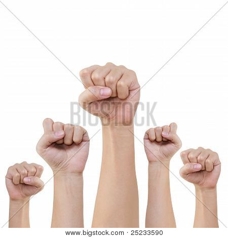 Group Of Hand And Fist Lift Up High