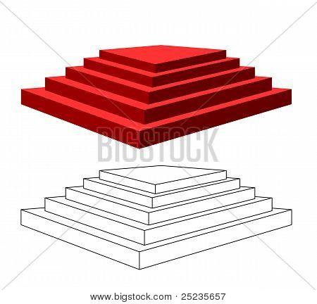 Pyramide mit Schritten.