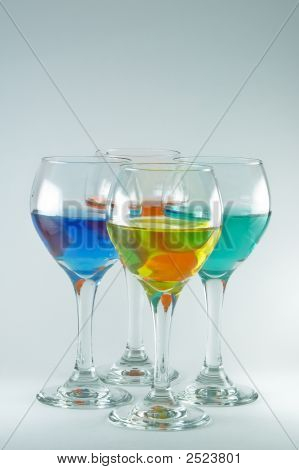 Four Wine Glasses With Color