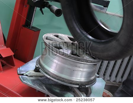 The Machine Tool For Installation Of Tyre Covers On Automobile Disks
