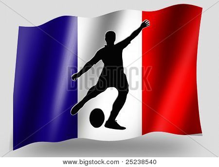Country Flag Sport Icon Silhouette French Rugby Place Kick