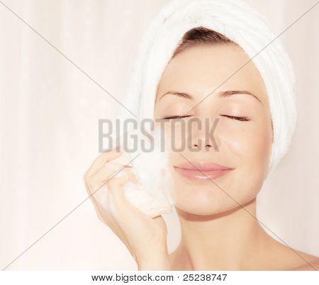 Healthy Happy Girl Taking Bath