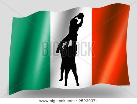 Country Flag Sport Icon Silhouette Irish Rugby Lineout