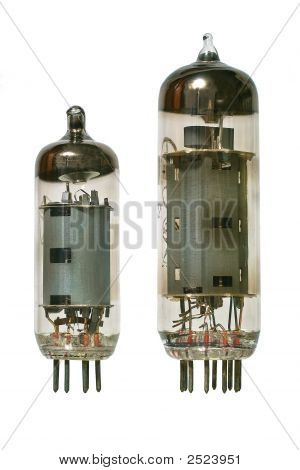 Two Old Vacuum Radio Tubes Front View.
