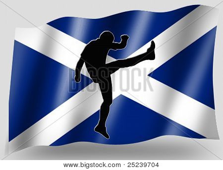 Country Flag Sport Icon Silhouette Scottish Rugby High Kicker