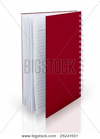 Red Cover Note Book On White Floor