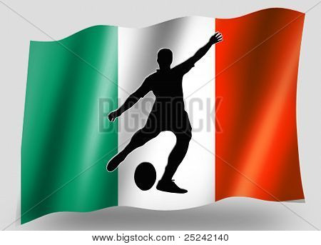 Country Flag Sport Icon Silhouette Irish Rugby Place Kicker