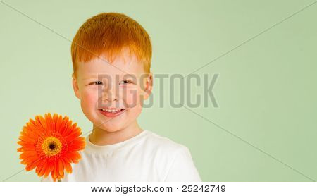 Adorable redheaded boy with orange African daisy on green background