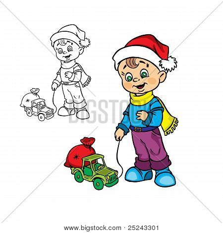 Christmas boy with a toy car