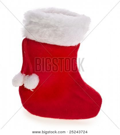 christmas boot stocking on white background