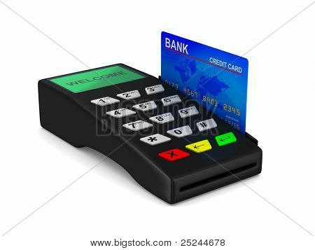 payment terminal on white background. Isolated 3d image