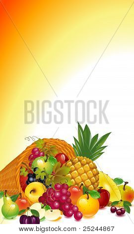 cornucopia with lots of fruits