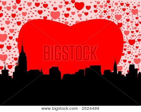 Midtown Manhattan With Hearts
