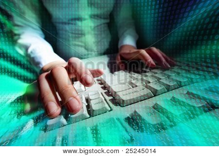 Picture of a person typing at a keyboard with matrix effect put over