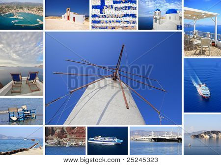 set of summer photos of Santorini Greece