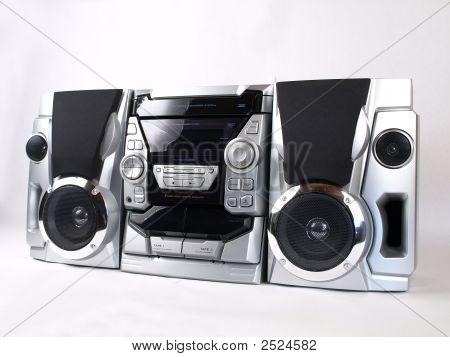 silberne Boom Box Stereo Winkel