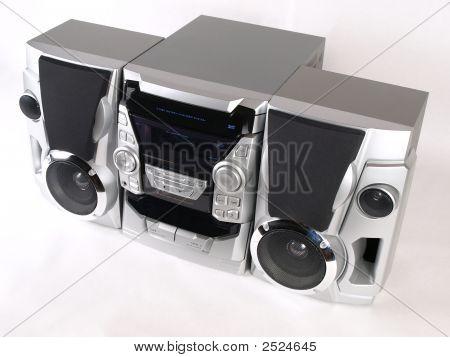 Silver Boom Box Stereo Top Angle