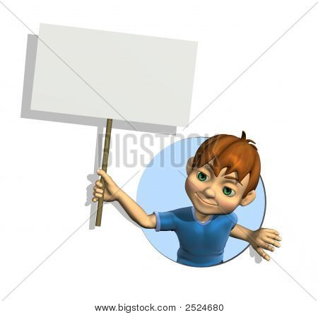 Cartoon Boy With Sign