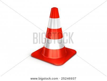 os cones de tráfego 3d isolados sobre o branco.