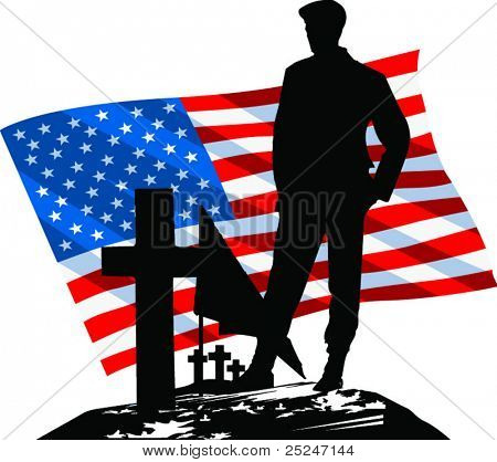Vector Silhouetted Soldier visiting a grave with The American Flag in the background