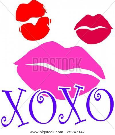 Lipstick kiss marks with XOXO (Hugs and Kisses)