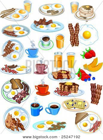 Breakfast Items in different styles vector illustration