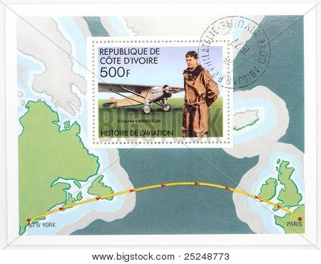 IVORY COAST - CIRCA 1977: A stamp printed in The Ivory Coast shows Charles Lindbergh The pilot of the first nonstop flight made in either direction between New York City and Paris, circa 1977.