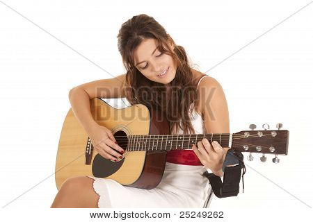 White Dress Play Guitar