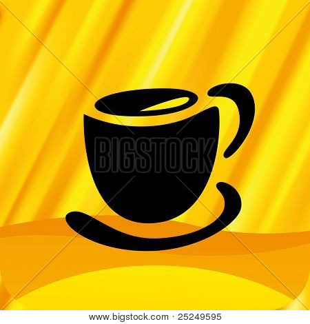 Vector Coffee cup with orange shine background