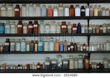 Antique Glass Bottles, Chemistry Purposes