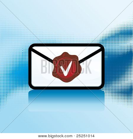 Vector Mail icon with stamp
