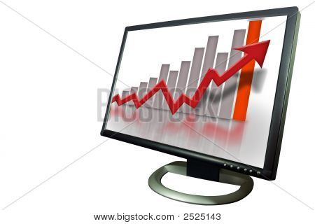 Monitor Financial Bar Graph Chart