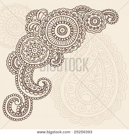Henna Mehndi Doodles Mandala de flores abstracta y elementos de diseño de ilustración de Vector Paisley