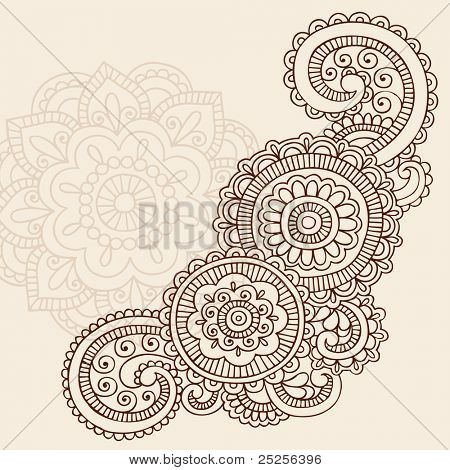 Henna Mehndi Doodles Abstract Floral Mandala and Paisley Vector Illustration Design Elements