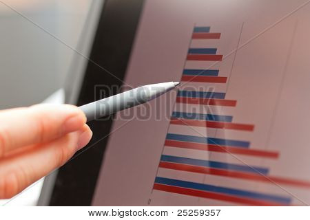 Pen, graph and screen of a laptop with bar chart