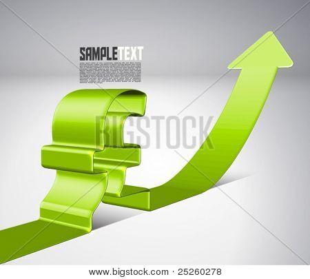 Vetor 3D seta mover para cima com o signo de libra